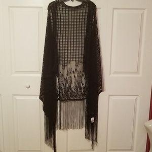 Jackets & Blazers - Lace fringe sleeveless kimono plus size